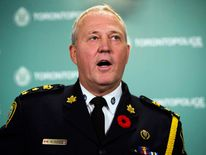 Toronto Police Chief Bill Blair speaks at a news conference in Toronto
