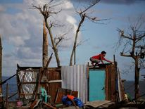 A man repairs his house, which was damaged by Typhoon Haiyan, south of Tacloban