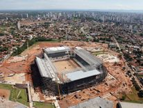 Aerial view of the Arena Pantanal stadium in Cuiaba
