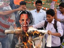 Activists of Akhil Bharatiya Vidyarthi Parishad (ABVP), linked to India's main opposition Bharatiya Janata Party (BJP), burn an effigy in Bhubaneswar