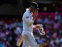 England's Stokes walks off the field after his dismissal by Australia's Harris  during the third day of the fifth Ashes cricket test at the Sydney cricket ground