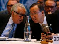 U.N. special envoy for Syria Brahimi speaks to U.S. Secretary-General Ban at the opening of the Geneva-2 peace conference in Montreux