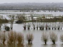 The flooded Somerset Levels are seen near Langport in south west England