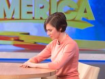 "Amanda Knox looks down during her interview on ABC's ""Good Morning America"" in New York"