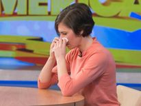 "Amanda Knox reacts during her interview on ABC's ""Good Morning America"" in New York"