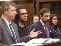 Max Rosenblum and  Juliana Luchkiw (R)are pictured in court with defense attornies Stephen Turano and Daniel Hochheiser during their arraignment in New York