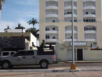 A Mexican Navy truck is pictured outside the Miramar building in Mazatlan