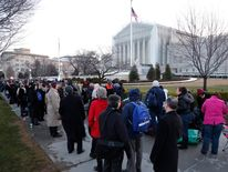 A line forms early outside of the U.S. Supreme Court in Washington