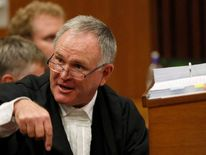 Pistorius' lawyer Roux gestures before the start of the application to appeal some of his bail conditions at a Pretoria court