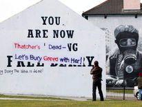 Thatcher graffitti on the Free Derry Corner in Londonderry