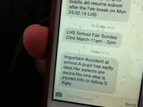 Text message sent to parents alerting them to the incident