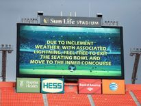 A message to fans on the giant screen as an electrical storm halts play, during the International Friendly at the Sun Life Stadium, Miami.