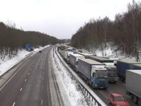 The M20 southbound gridlocked because of snow.