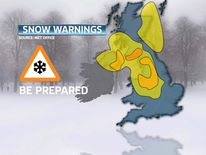 Graphic showing the locations of snow warnings