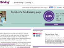Donations to Stephen Sutton's JustGiving page have soared past £2.4m
