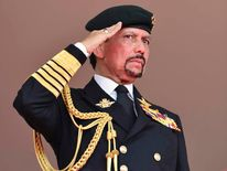 Brunei's Sultan Bolkiah salutes during celebrations for Brunei's 30th National Day, in Bandar Seri Begawan