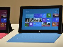 Microsoft's new tablet SURFACE shown during the press conference in Milky Studios  on June 18, 2012 in Hollywood, California.