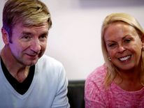 Jayne Torvill and Christopher Dean, perform during a show in Sarajevo