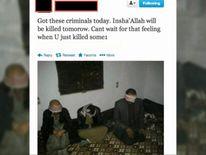 Hand-cuffed men in Syria