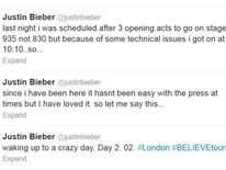 Justin Bieber apologises and gives reasons for being late out on stage on his opening night at the O2