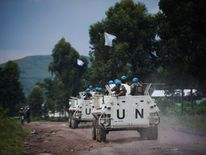 UN armoured personnel carriers near Goma