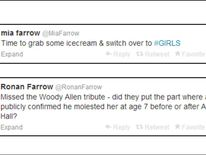 Mia Farrow and Ronan Farrow tweets