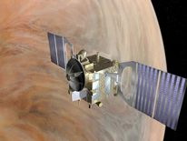 An artist's impression of Venus Express orbiting Venus. Picture courtesy European Space Agency