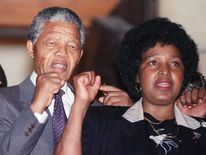 Nelson and Winnie Mandela in February 1990