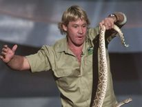 Steve Irwin holds a rattle snake during Nick..