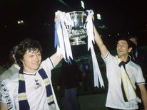 Steve Perryman and Ossie Ardiles of Tottenham Hotspur lift the FA Cup