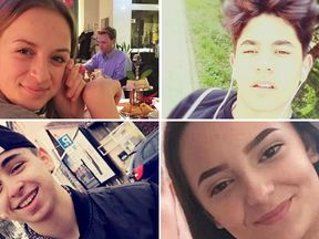 L-R, top to bottom: Victims Sabina Sulaj, Selcuk Kilic,  Can Leyla and Armela Segashi