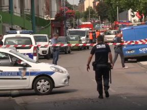 Police at the scene in Saint-Etienne-du-Rouvray
