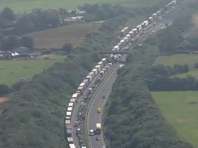 Aerial Footage Shows Queues Heading Into Dover