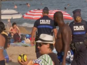 Police patrol the French coastline