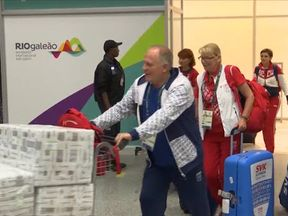 Members of the Russian delegation and Slovakian athletes  arriving in Rio ahead of the Olympics