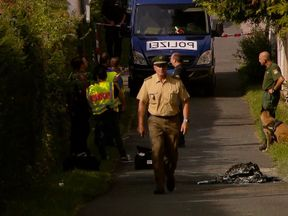 Police at the scene of an explosion in Zirndorf, Germany