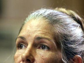 Leslie Van Houten listens during her parole hearing in Corona