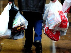 A 5p charge for plastic bags was introduced last October