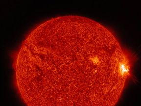 This vivid NASA image shows one of the flares bursting out