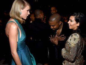 Taylor Swift, Kanye West and Kim Kardashian at the Grammys in 2015