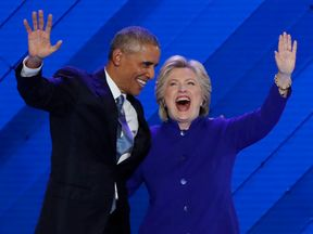 President Barack Obama and Democratic presidential nominee Hillary Clinton appear on stage together at the Democratic National Convention in Philadelphia