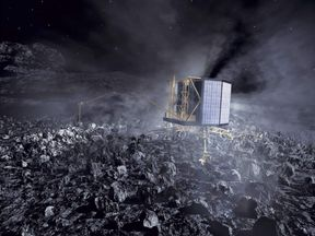An artist's impression of Rosetta on the surface of comet 67P/Churyumov-Gerasimenko