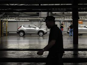 Nissan Qashqai cars are put through final checks on the production line at the company's plant in Sunderland