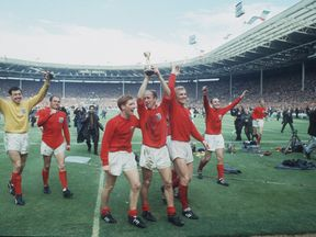 England players on their lap of honour after winning the 1966 World Cup final
