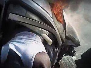 Body Camera Captures Burning Car Rescue