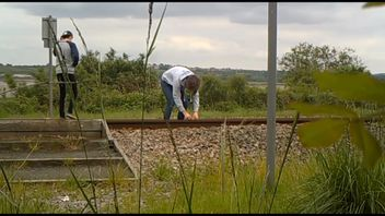 A youngster trespasses on railway tracks