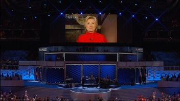 Hillary Clinton appeared by video link to accept the Democratic nomination