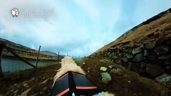 On-board footage shows how a sheep's eye view of the island looks