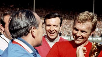 Alf Ramsey and Bobby Moore celebrate England's 1966 World Cup final triumph