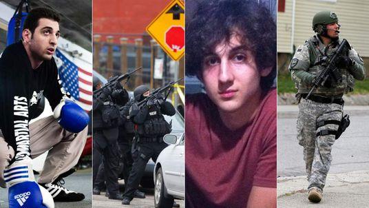 Tamerlan Tsarnaev (L) and Dzhozkar Tsarnaev (2nd R)